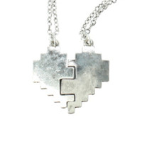 LOVEsick Pixel Heart Best Friends Necklace Set