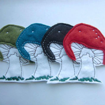 Iron on Patch Set of 4 Mushroom Appliques
