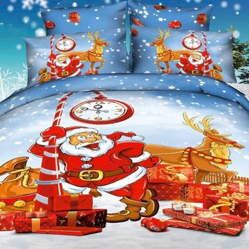 3D Holiday Santa and Reindeer Printed Cotton Luxury 4-Piece Bedding Sets/Duvet Covers