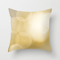 Gold Drops Throw Pillow by Joanne Munoz
