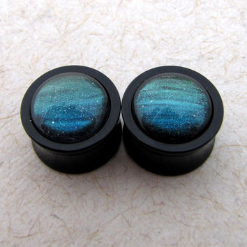 Double Flare Plugs - Northern Lights Plugs - 0g 00g  Color Changing Plugs Aurora Borealis Shimmer Sparkle Plugs