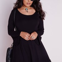 PLUS SIZE BELL SLEEVE POM POM TRIM MINI DRESS BLACK