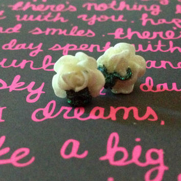 Glitter Black and White Rose Studs//Stocking Stuffers//Cyber Monday