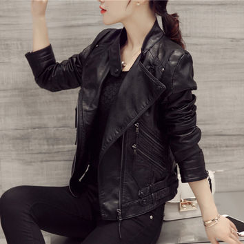 Black Oblique Zipper Slim Stand Collar Crop Jacket