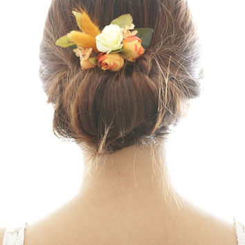 Bridal Hair Accessory, Vintage Autumn Flower, Silk Flower Hair comb, Bridesmaid gift, Rustic Chic Romantic, outdoor wedding woodland