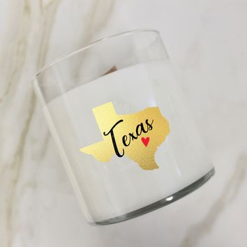 Texas Gold Heart Candle