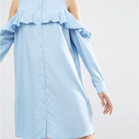 Light Blue Cold Shoulder Ruffles Buttoned Shift Dress