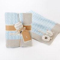 Opentip.com: Baby Aspen BA12037BL My Sweet Baby Classic Cable Knit Blanket, Blue