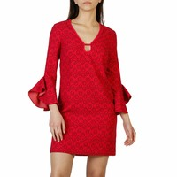 Pinko Pink V-Neck Sleeves Dress