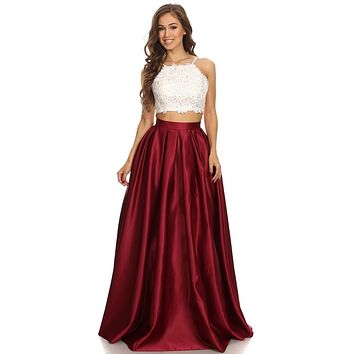 Two-Piece Long Prom Dress Lace Crop Top and Satin Skirt Burgundy