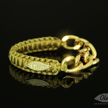 Olive Cobra Silky Bracelet With Golden Chain