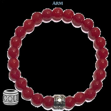 FEARLESS: Red Jade | COURAGE Bead | Yoga Chakra Bracelet
