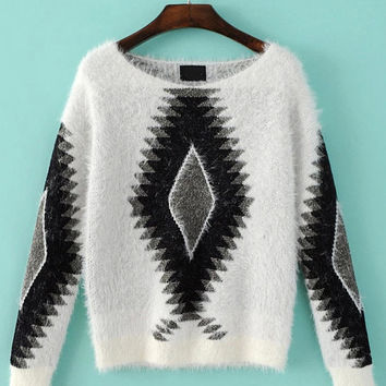 Diamond Patterned Mohair Sweater