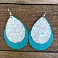 Turquoise Leather & Ivory Glitter Layered Earrings
