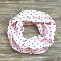 Girl's Polka Dot Scarf Toddler Scarf Childs Scarf Kids Scarf LIght Pink Periwinkle Gift Idea Ready to Ship