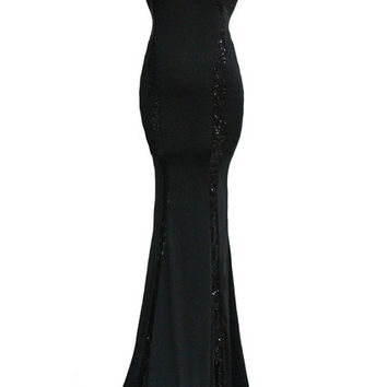 WomensDate New Summer Women Sexy Sleeveless Backless Dress Black Sequin Trim Night Club Party Long Dresses Vestidos De Noite