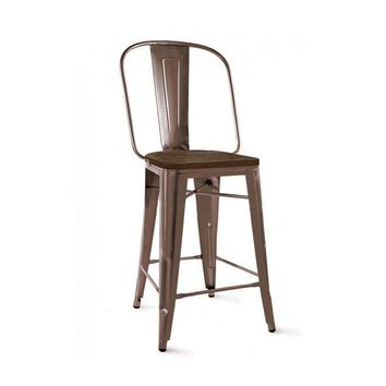 Dreux Rustic Matte Elm Wood Steel Counter Chair 26 Inch (Set of 4)