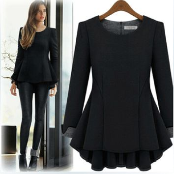 Long-Sleeve Zip-Back Ruffled Shirt