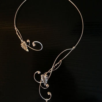 Medieval Renaissance circlet torc silver necklace leaf pearl wedding elven