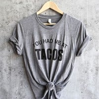 distracted - you had me at tacos unisex triblend graphic tee - grey/black