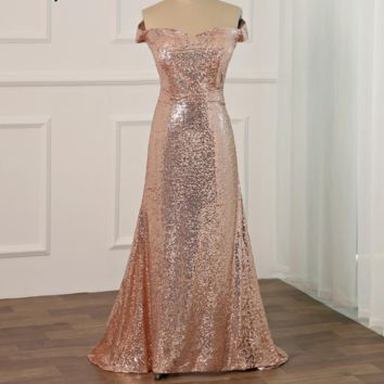 Sexy Sequin Prom Dresses Off the shoulder Mermaid Evening Gowns Sweep Train