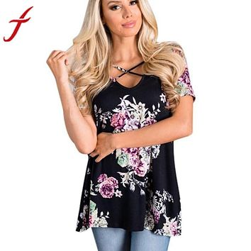 Cross Front Strap Floral Short Sleeve Shirt