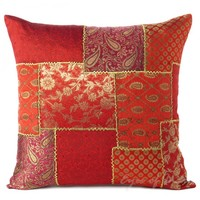"16"" Burgundy Brocade Throw Pillow Toss Cushion Cover Ethnic Decor"