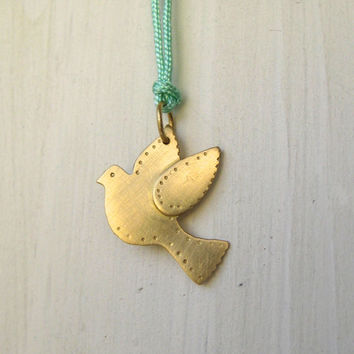 Fairtrade Gold Dove Pendant in 18k Gold with Nylon String Necklace.  Handmade Using Recycled Gold. Artisan Amulet for Peace.