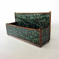 van Gogh Glass Handmade Stained Glass Business Card Holder Desk Organizer Accessory in Green with Copper Patina