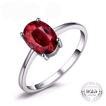 Oval Natural Red Garnet Birthstone Ring 925 Sterling Silver