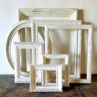 Empty Picture Frame Set Of 7 Antique White Shabby Chic Wall Decor