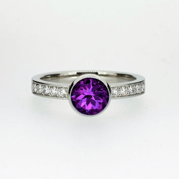 Amethyst solitaire engagement ring made from white gold, unique, milgrain, vintage style ring, amethyst engagement, purple, diamond ring