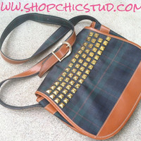 Studded Purse Bag Vintage Green & Blue Plaid