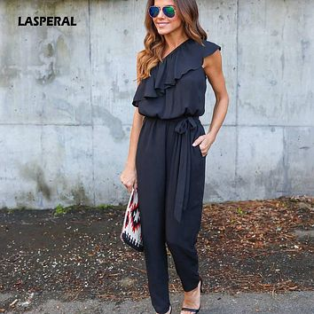 LASPERAL 2017 Summer Women Sexy Beachwear Ruffles Jumpsuit Chiffon Lace Up Loose Casual One Shoulder All-Match Jumpsuits Overall