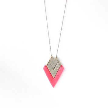 Geometric Neon Pink and Gray Tribal Arrow, Polymer Clay Pendant Necklace