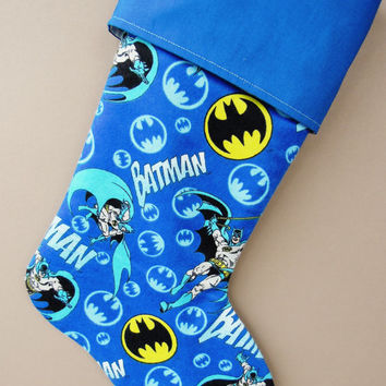 Batman Stocking, Batman Christmas Stocking, Super Hero Christmas Stocking, Batman, Pop Culture Stocking, Boy's Christmas Stocking