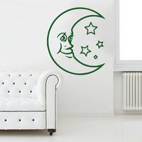 Sky Moon Stars Sun Wall Decal Vinyl Decals Sticker Interior Home Decor Vinyl Art Wall Decor Bedroom Nursery Baby Kids Children's Room SV5906