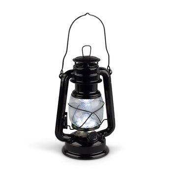 Gerson 9-Inch Black Metal 15 LED Hurricane Lantern with Dimmer Switch