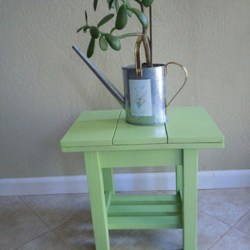 Rustic Apple Green Patio Table, Side Table or Small Bench
