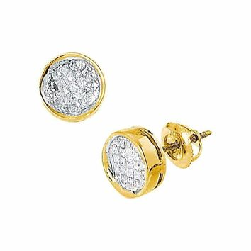 14k Yellow Gold Women's Princess Diamond Invisible-set Circle Screwback Stud Earrings 1-2 Cttw - FREE Shipping (USA/CAN)