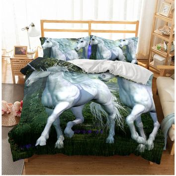 Free Dropshipping  Duvet Bedclothes  3D Double horse Digital Printing  Rainbow Unicorn Bedding Set  Queen King Size