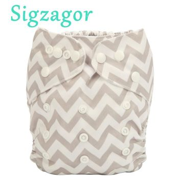 [Sigzagor]Baby Pocket Cloth Diaper Nappy Reusable,Washable,Adjustable, 3-15kgs 8-36lbs One Size Fits All