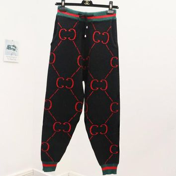 GUCCI Fashion Women Casual Red Double G Letter Jacquard Black Drawstring Sport Stretch Pants Sweatpants I12500-1