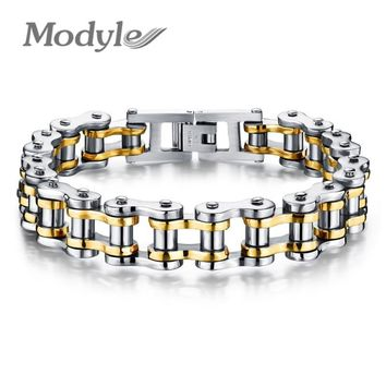 Modyle Biker 316L Stainless Steel Mens Bracelet Fashion Sports Jewelry Bike Bicycle Chain Link Bracelet Casual Jewellery