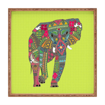 Sharon Turner Painted Elephant Chartreuse Square Tray