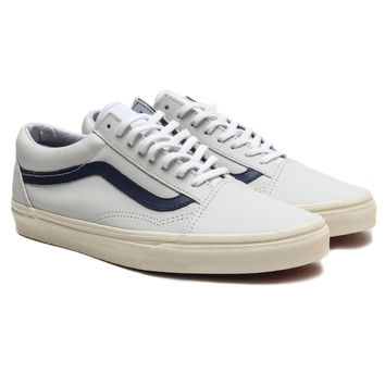 Vans - Matte Leather Old Skool (True White/Dress Blues)