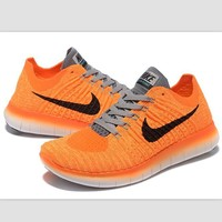 Nike free RN flynit running sneakers Sport Casual Shoes Sneakers Orange-grey black hoo