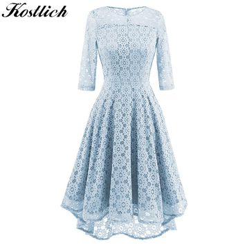 Kostlich 2017 Autumn Dress Women O-Neck 3/4 Sleeve Big Swing Hepburn Vintage Dress Sexy Lace Hollow Out Evening Party Dresses