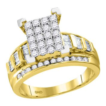 10kt Yellow Gold Womens Round Diamond Cindys Dream Cluster Bridal Wedding Engagement Ring 7/8 Cttw - Size 6