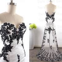 High Low Black Prom Dresses, Custom Hi-Lo Black Lace Tulle Prom Gown, Long Formal Dresses, Front Short Long Back Formal Gown